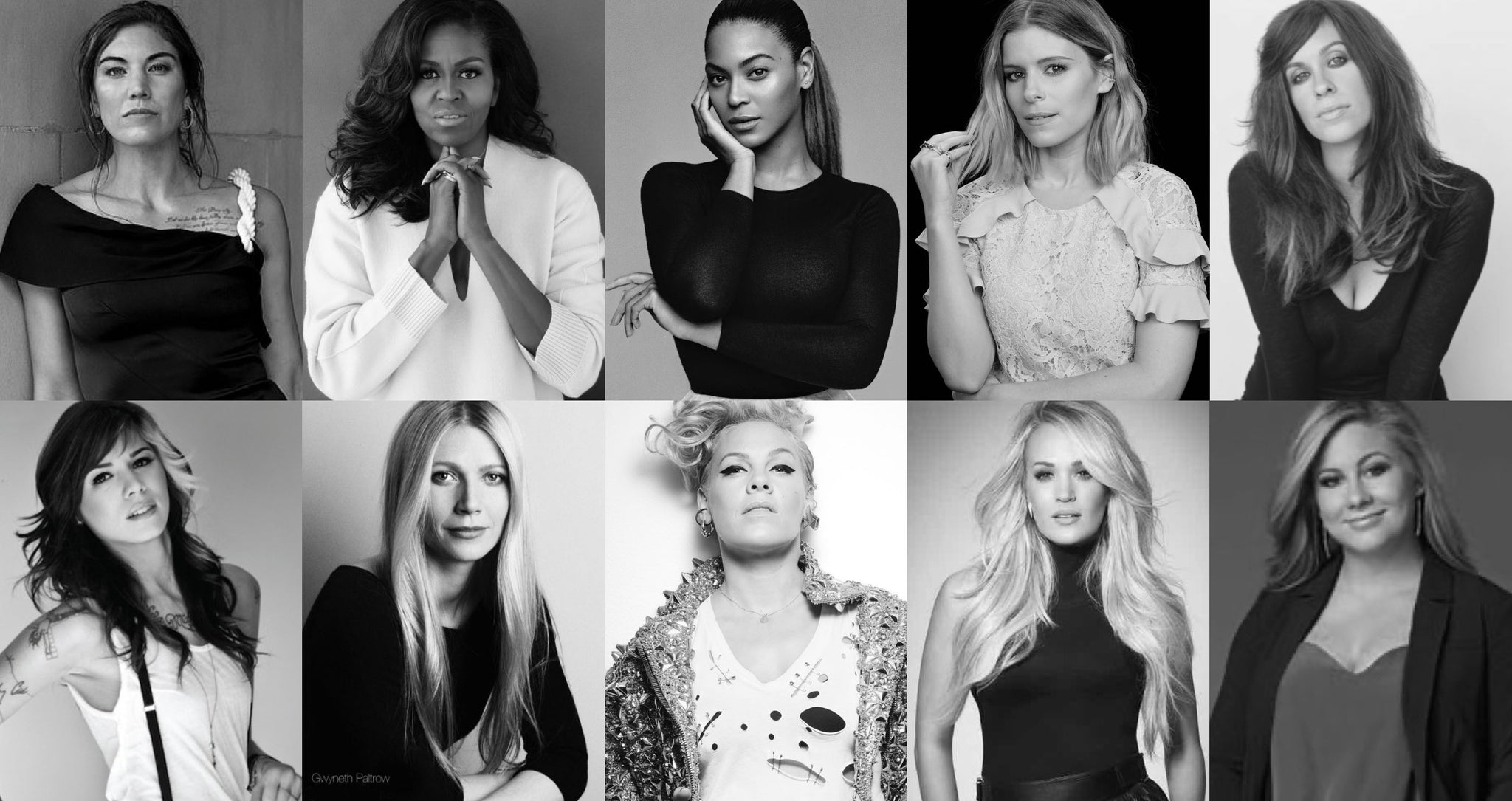 Michelle Obama, Beyonce, Pink, Carrie Underwood, Gwyneth Paltrow, Alanis Morissette, Shawn Johnson, Kate Mara, Hope Solo, Dylan Dreyer, Michelle Branch, Hilaria Baldwin and Shay Mitchell