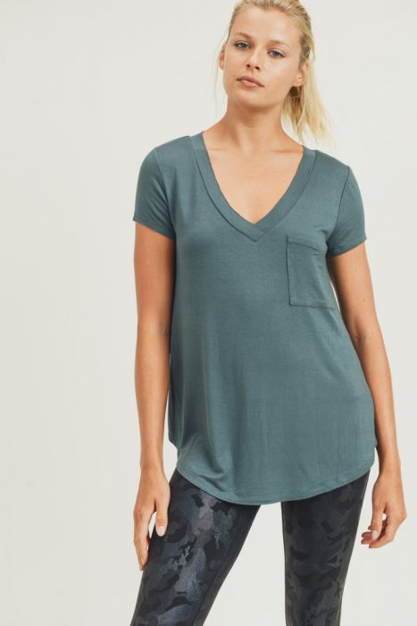 Longline Deep V-Neck Pocket Shirt