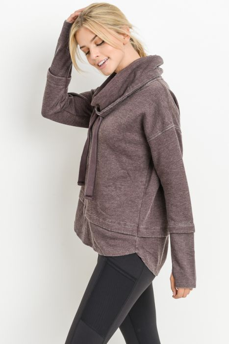 Mineral Wash Cowl Neck Pullover