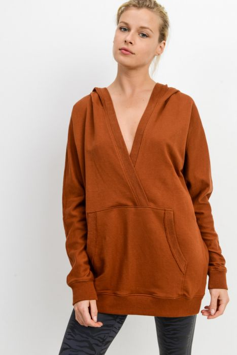 Deep V-Neck Hoodie Pullover