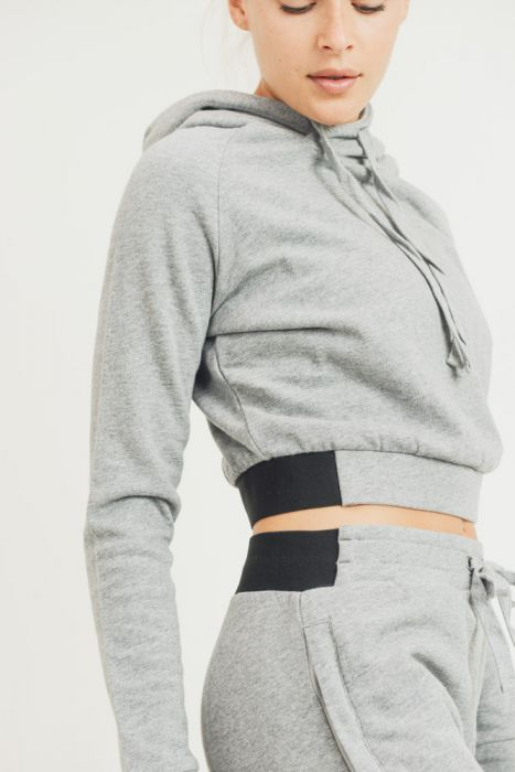 Essential Terry Cotton Cropped Hoodie Pullover