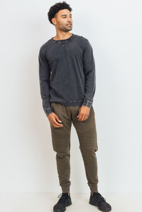 Men's Mineral Wash V-Stitch Cotton Pullover