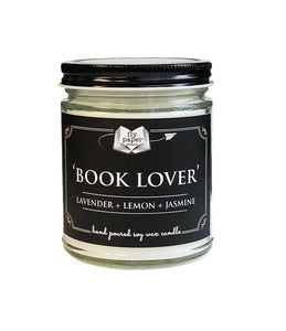 Book Lover Literary Glass  Candle 9 oz