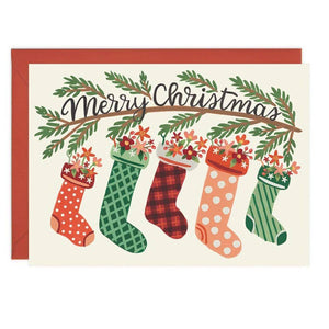 Bloom Stockings Christmas Card - Box Set 8 Cards