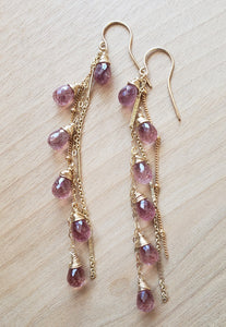 Cherry Quartz Long Fringe Earrings