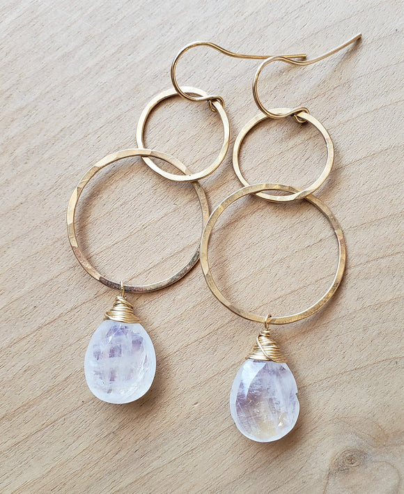 Moonstone Double Hoop Earrings