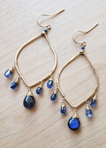 Labradorite and Kyanite Chandelier Earrings