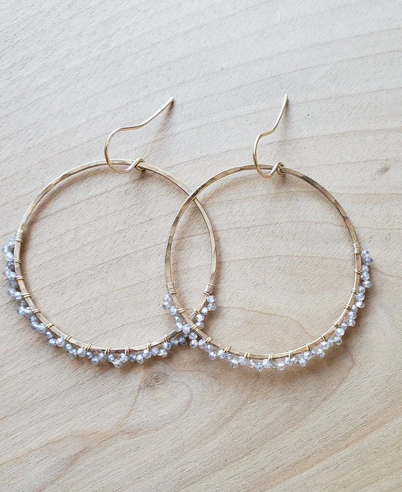 Labradorite Lace Hoop Earrings