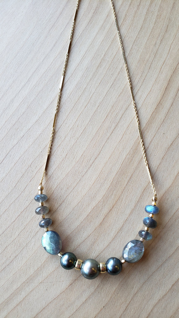 Tahitian Pearl and Labradorite Necklace