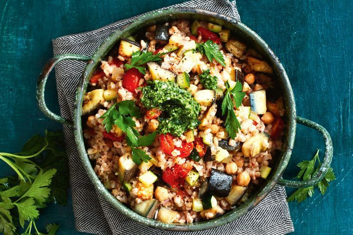 Barley, chickpea and eggplant casserole with parsley pesto