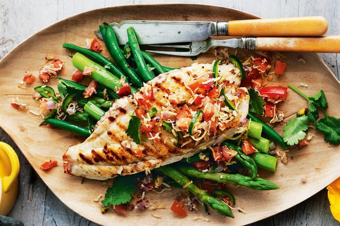 Chargrilled fish with green chilli, coriander and coconut relish