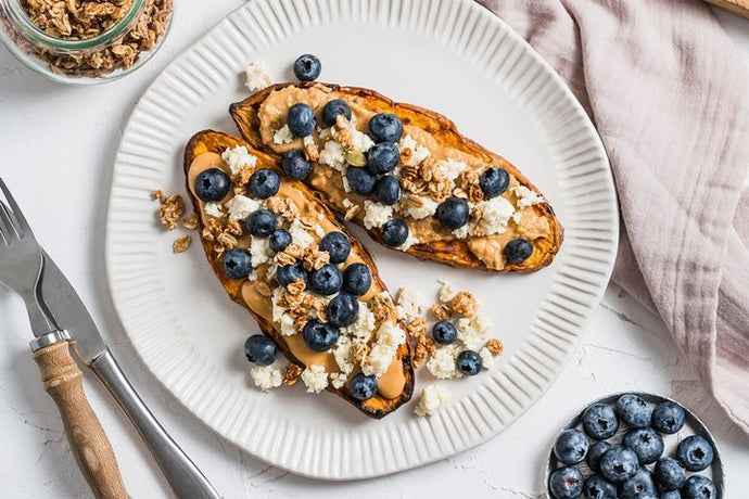 Sweet potato toast with peanut butter, ricotta and blueberries