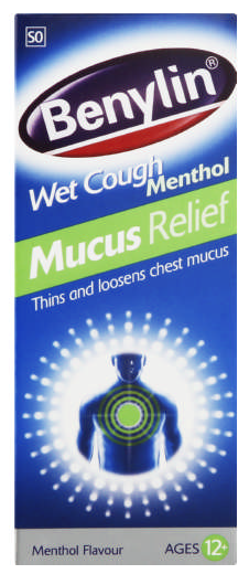 Benylin Wet Cough Mucus Relief Menthol Age 12+ 100ml