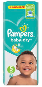 Pampers baby-dry are the only diapers with new air channels, for no clammy bottoms and breathable dryness overnight