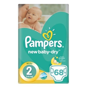 Pampers New Baby-Dry Size 2 Value Pack, 68 Nappies