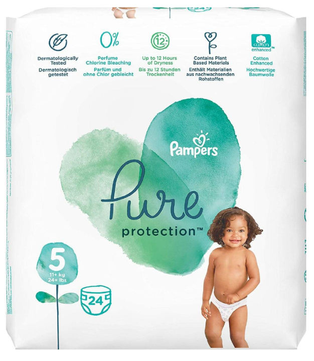 Pampers Pure Protection Maxi Diapers Size 5, 11kg+ 24 Diapers