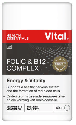 Vital Folic & B12 Complex Vegetarian And Iron Support 60 Tablets