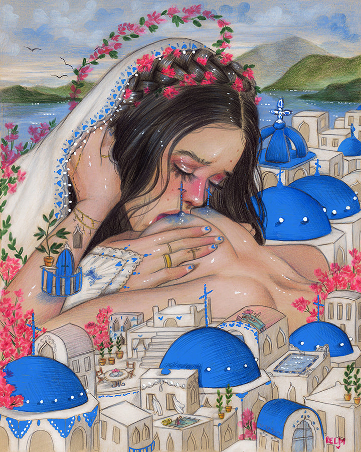 'Lady Santorini' Limited Time Poster Size Print