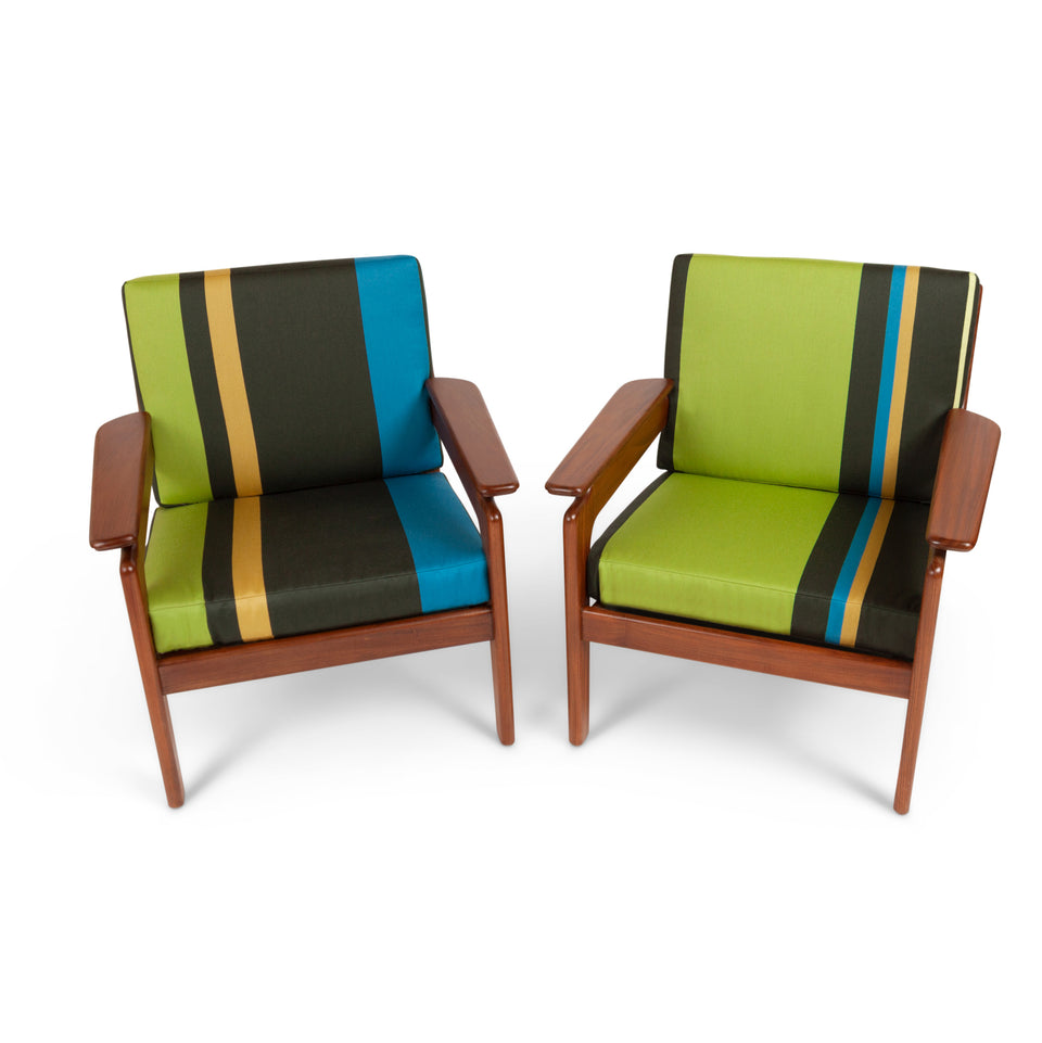Vintage Italian Mid-Century Sofa Set in Paul Smith Big Stripe fabric by Maharam