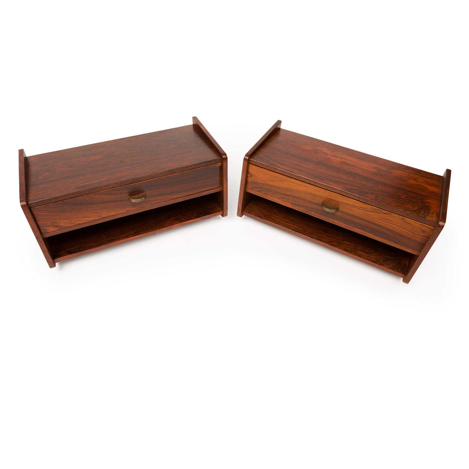 Vintage Danish Mid-Century Floating Rosewood Nighstands