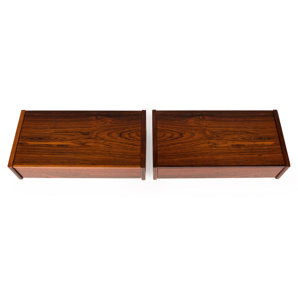 Vintage Danish Mid-Century Rosewood Floating Nightstands