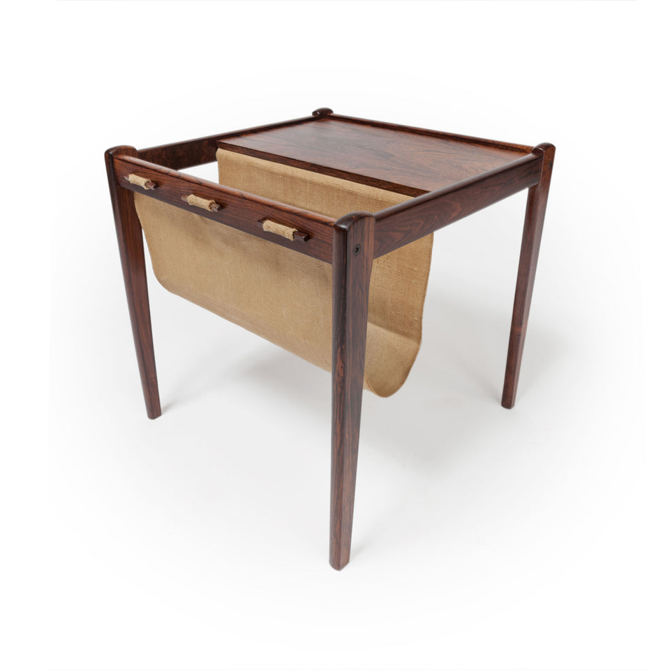 1965 Danish Modern Brdr. Furbo Spøttrup Rosewood and Canvas Magazine Rack Table / End Table