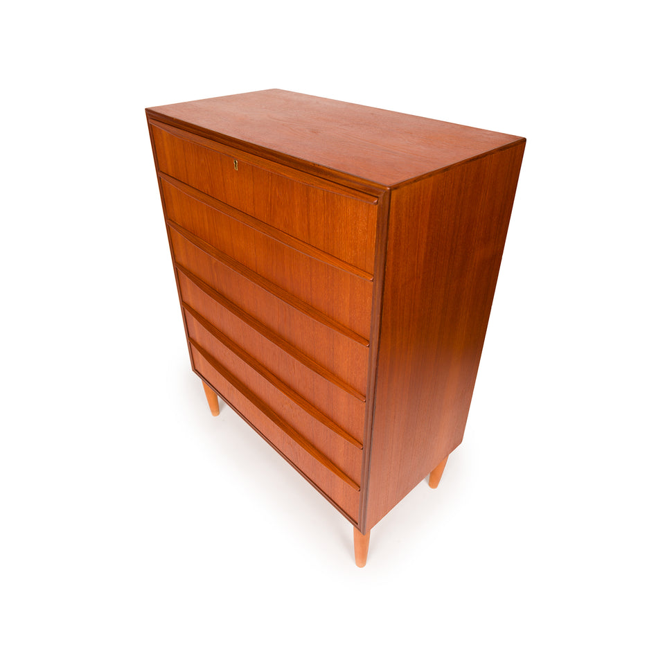 Vintage Danish Mid-Century Six Drawer Tallboy