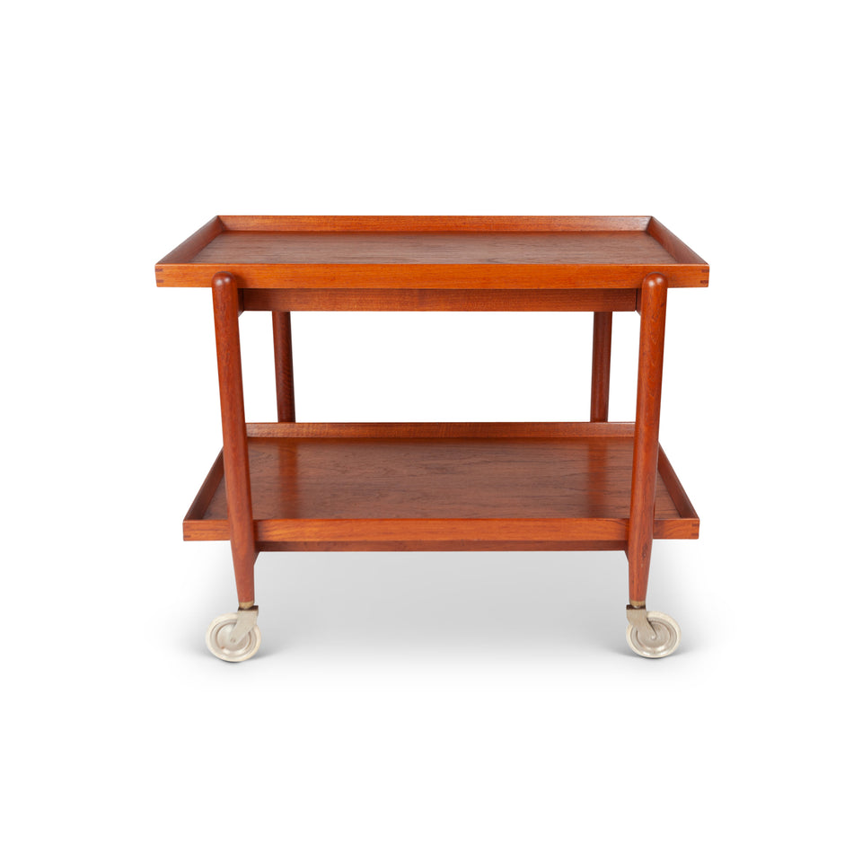 Vintage Danish Modern Teak Tea Service Bar Cart by Poul Hundevad and Side Table