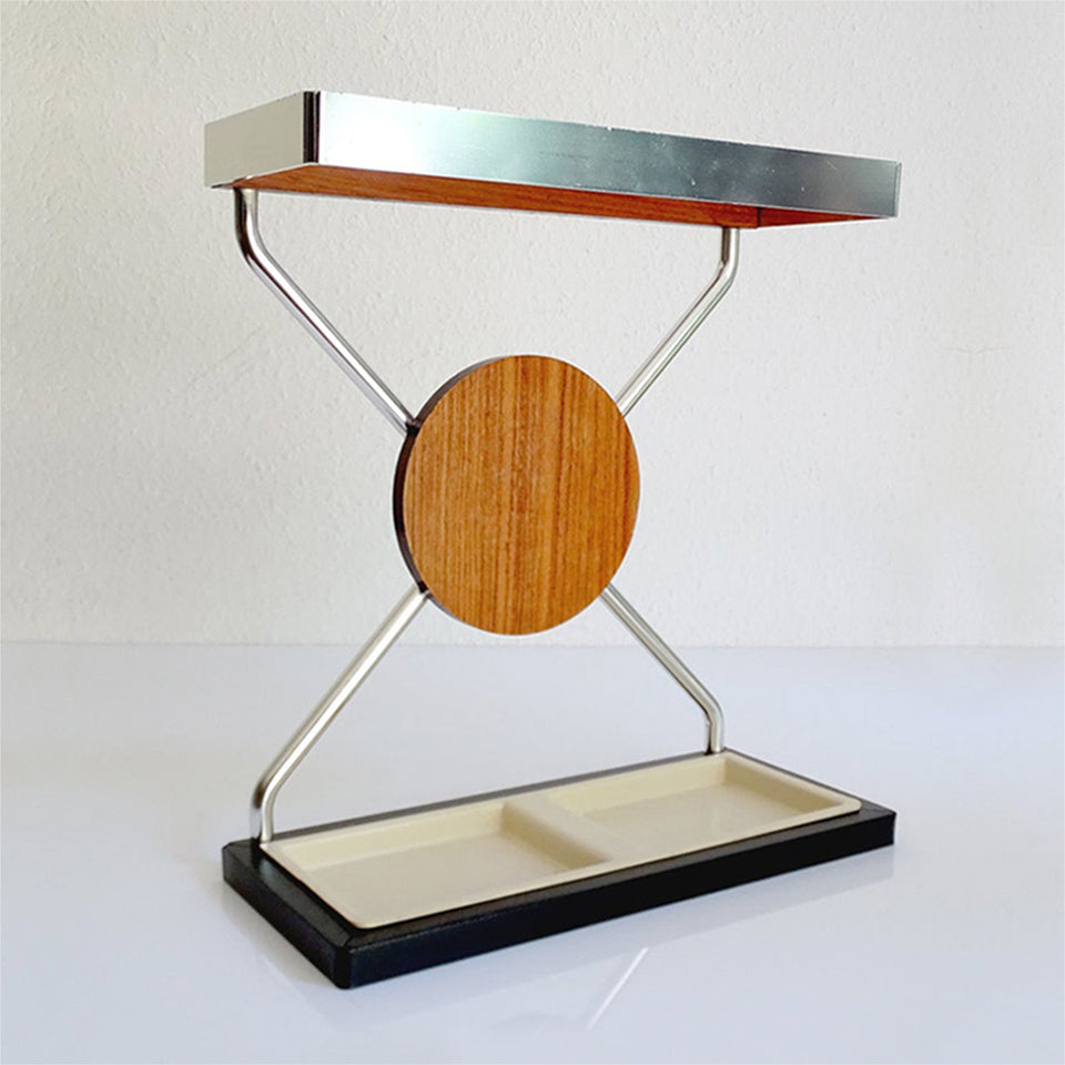 Vintage Danish Midcentury Umbrella Stand in Aluminum and Teak Wood 1960s In Modernist Panton Style