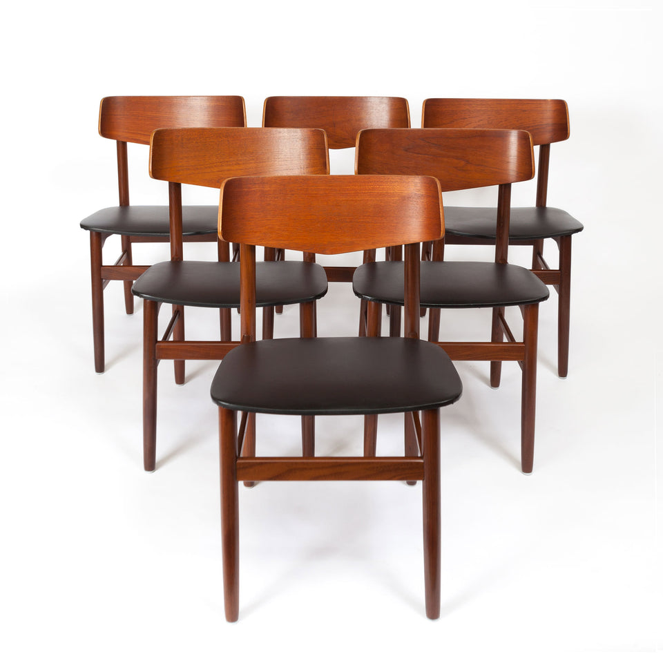 Set of Six Vintage Walnut & Teak Danish Modern Dinning Chairs