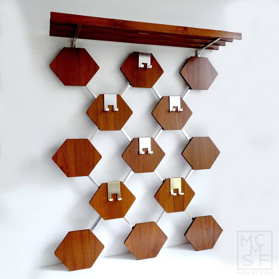 Vintage Danish Mid Century Hexagons Teak Wood Coat/Hat Hanger & Shelf