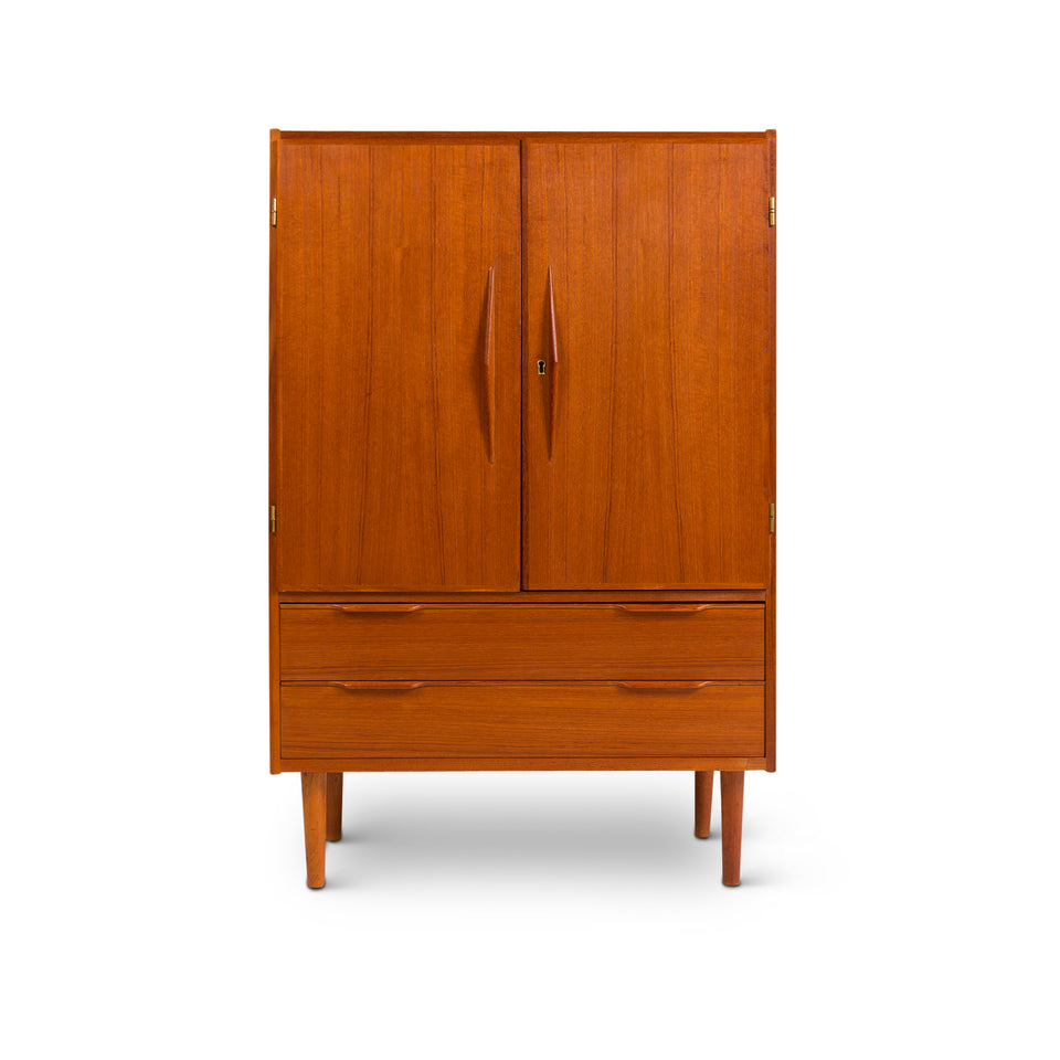 Vintage Danish Mid-Century Teak Gentleman's Chest / Hutch