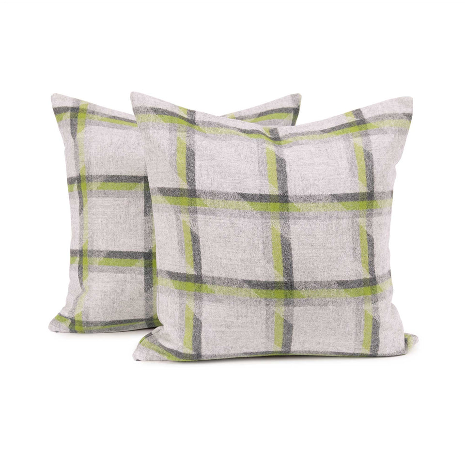 Lime Plaid Lambswool Throw Pillow Cover (Pair)