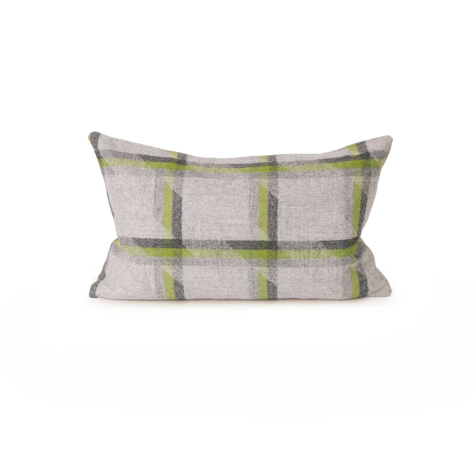 Lime Plaid Lambswool Lumbar Pillow Cover (Pair)
