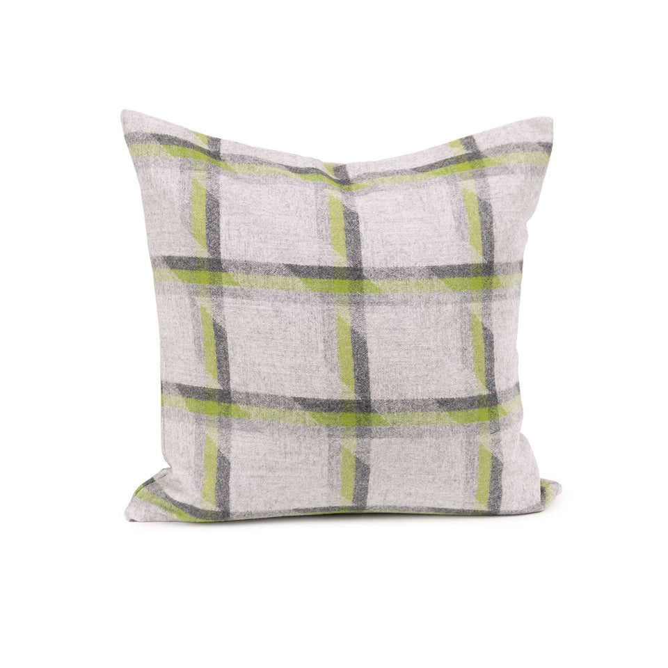 Lime Plaid Lambswool Throw + Lumbar Pillow Cover