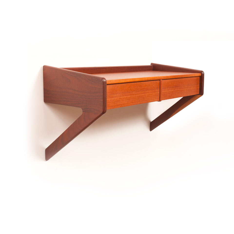 1960s Danish Mid-Century Floating Teak Nightstand
