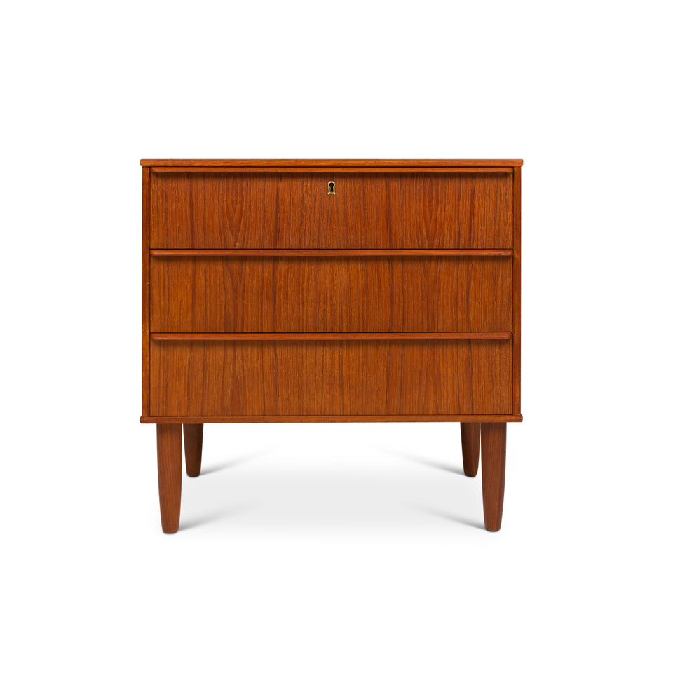 Vintage Danish Mid-Century Teak Three Drawer Lowboy Dresser