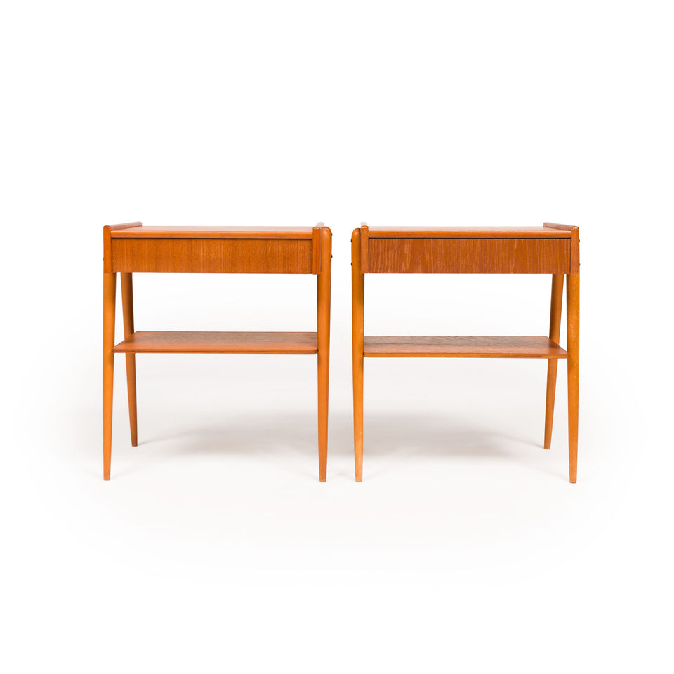 Vintage Danish Mid-Century Teak & Oak Nightstands (Pair)