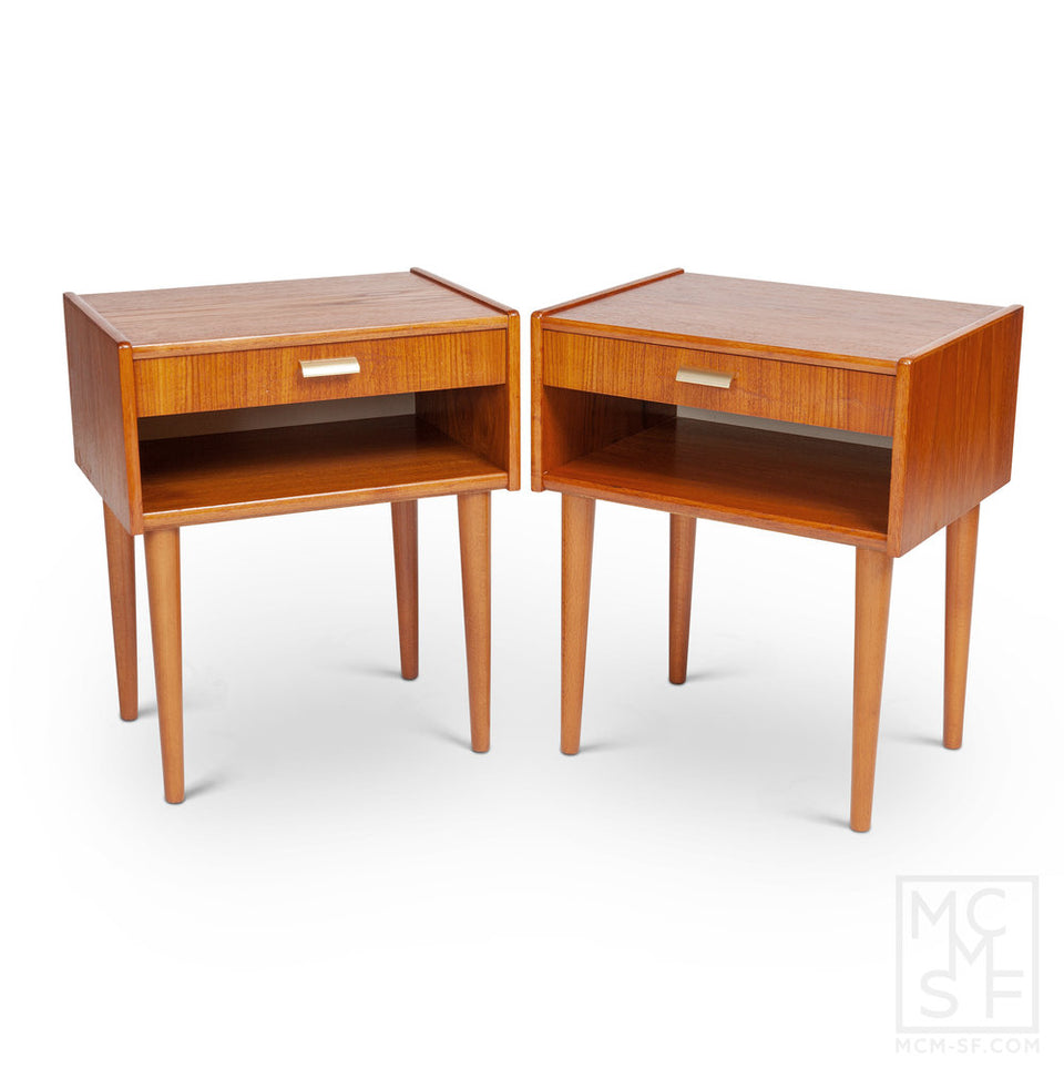 Vintage Danish Modern Teak Nightstands with Brass Handles (Pair)