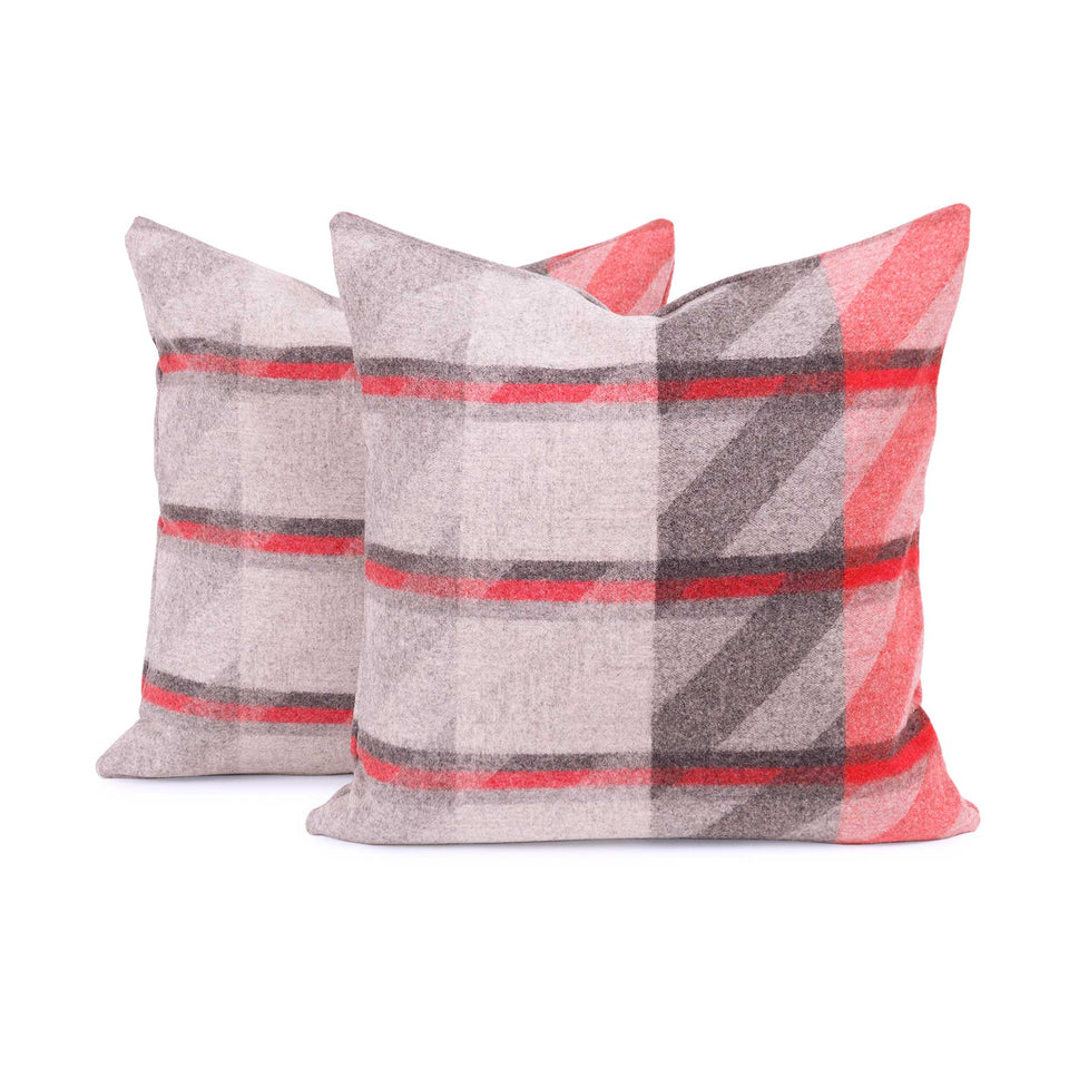 Red Plaid Lambswool Pillow Cover (Pair)