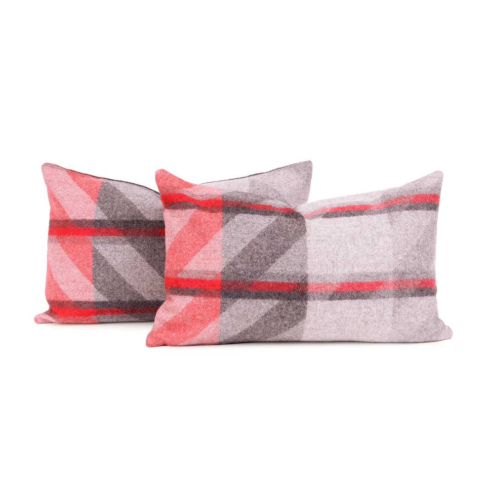 Red Plaid Lambswool Lumbar Pillow Cover (Pair)