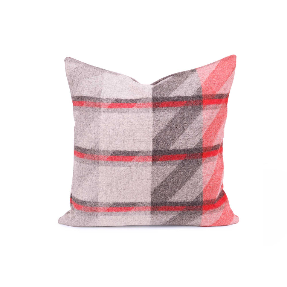 Red Plaid Lambswool Throw + Lumbar Pillow Covers
