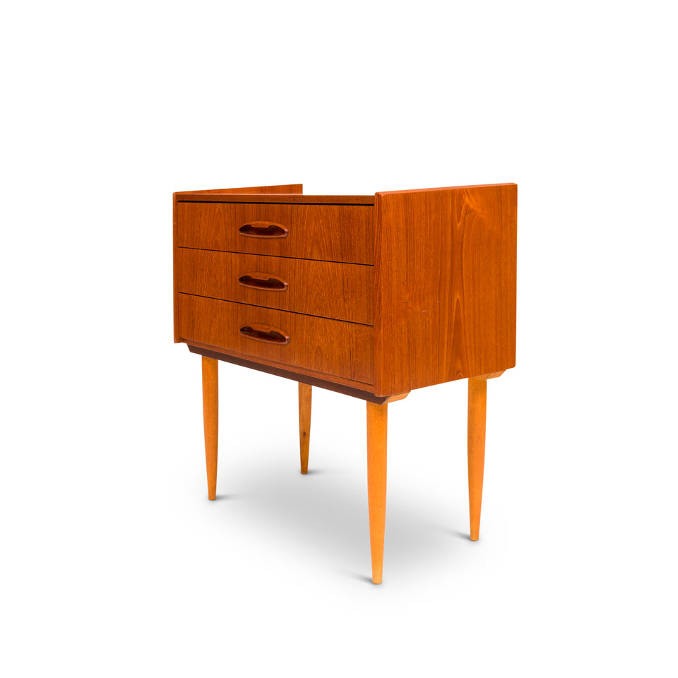 Vintage Danish Mid-Century Small Three-Drawer Chest