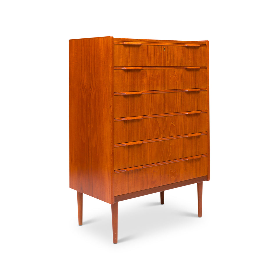 Danish Mid-Century Six-Drawer Teak Tallboy / Dresser