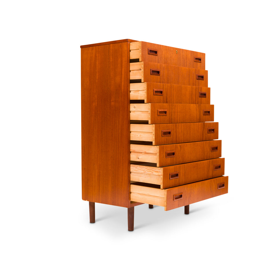 Vintage Danish Mid-Century Eight Drawer Teak Tallboy Dresser