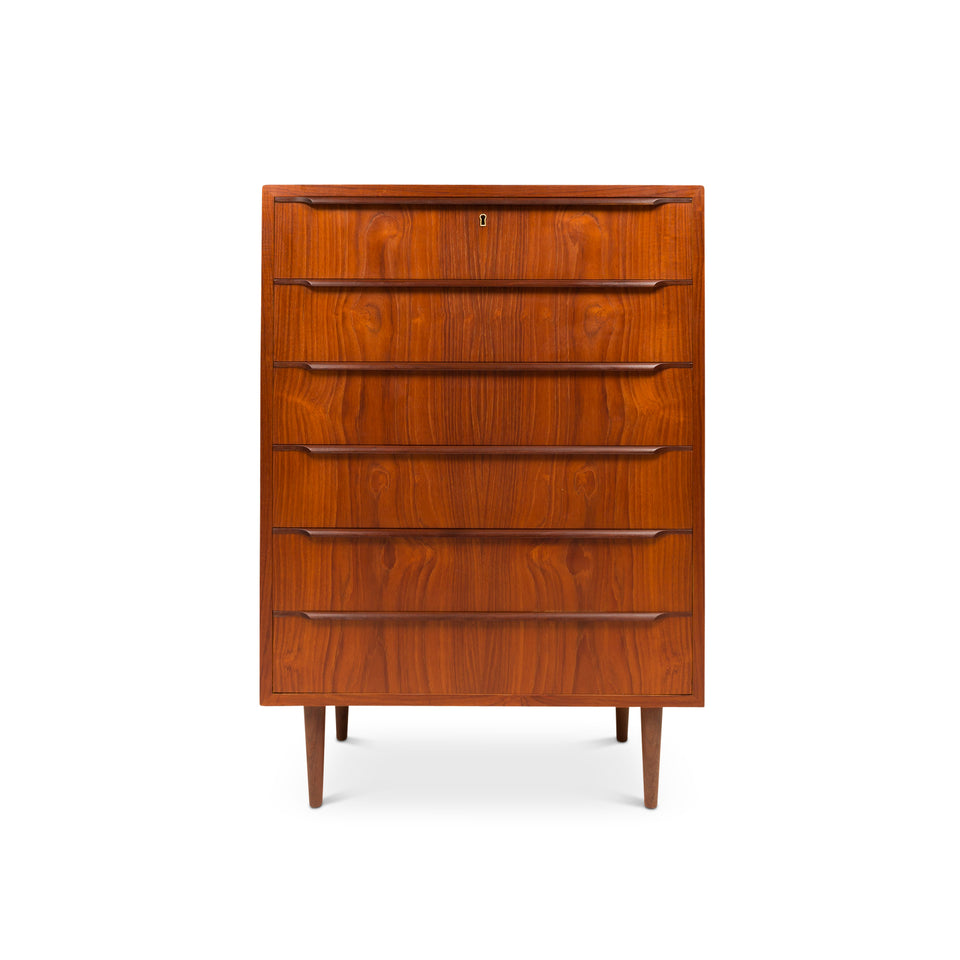 Vintage Danish Mid-Century Six Drawer Teak Tallboy