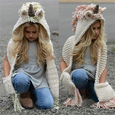 Winter Windproof Knitted Unicorn Hooded Scarf