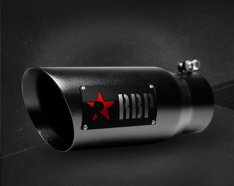 BLACK DOUBLE WALL EXHAUST TIP W/ RED STAR(DRIVER SIDE)