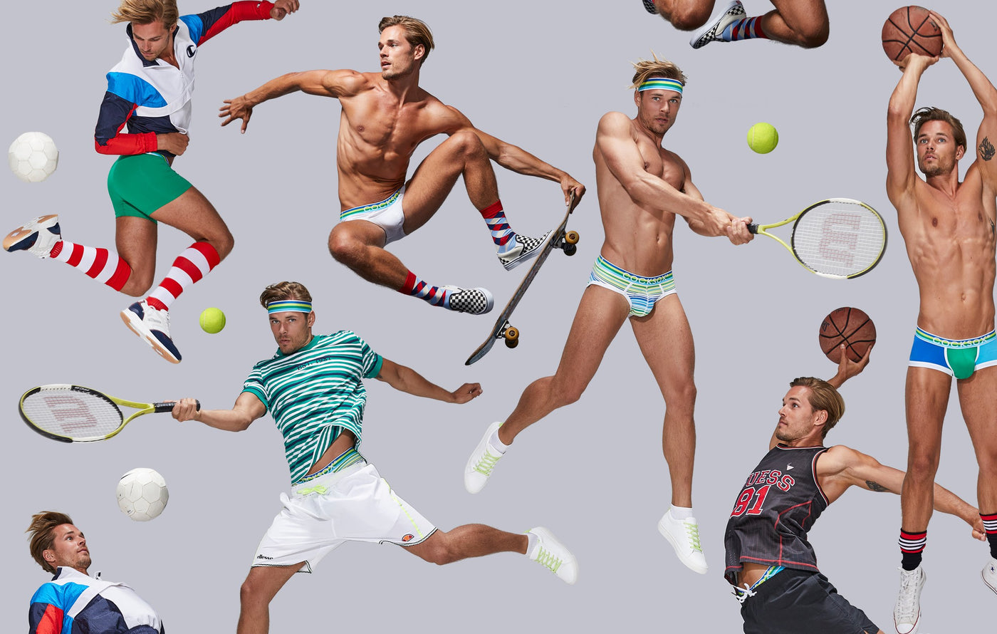 Cocksox Lifestyle image featuring various Freshballs collection underwear