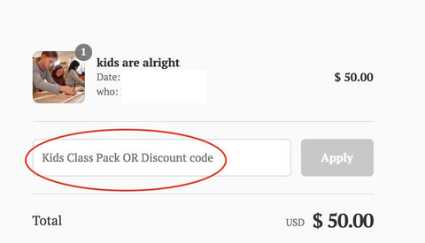 Kids Class Pack Code at Checkout